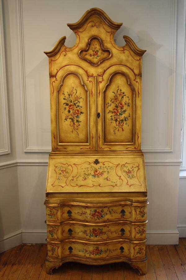 Yellow secretaire bureau bookcase