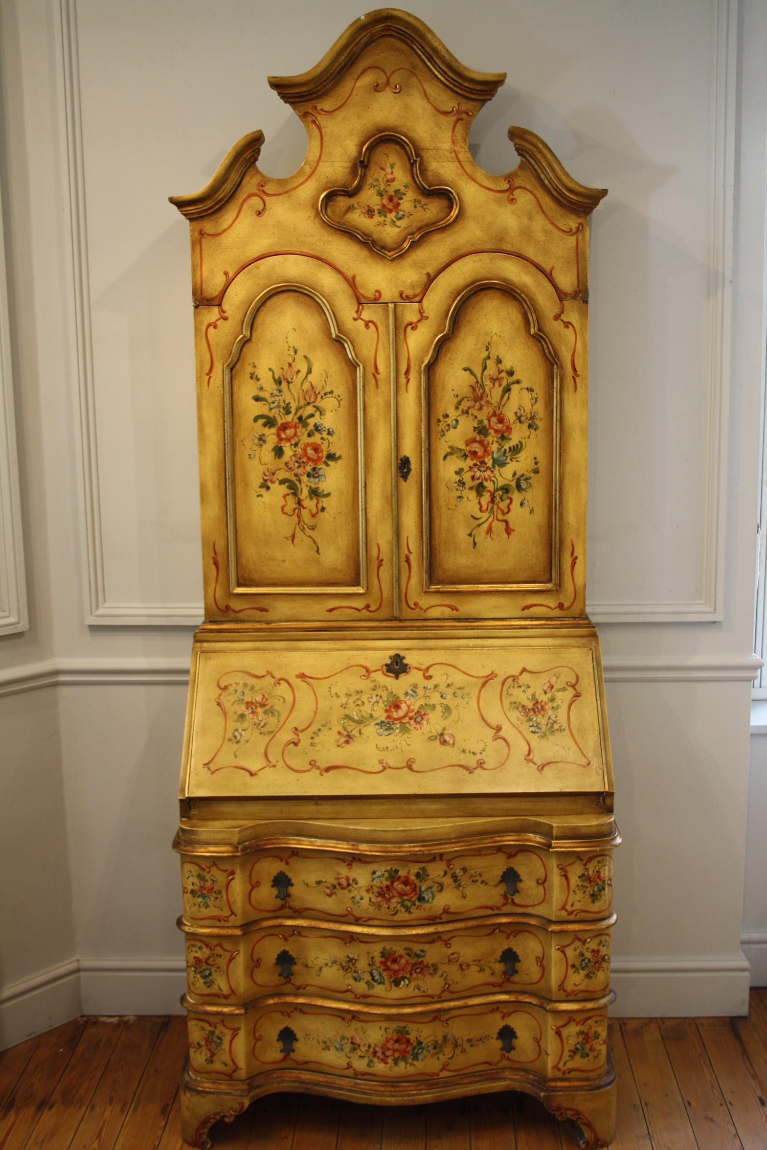 Yellow secretaire bureau bookcase