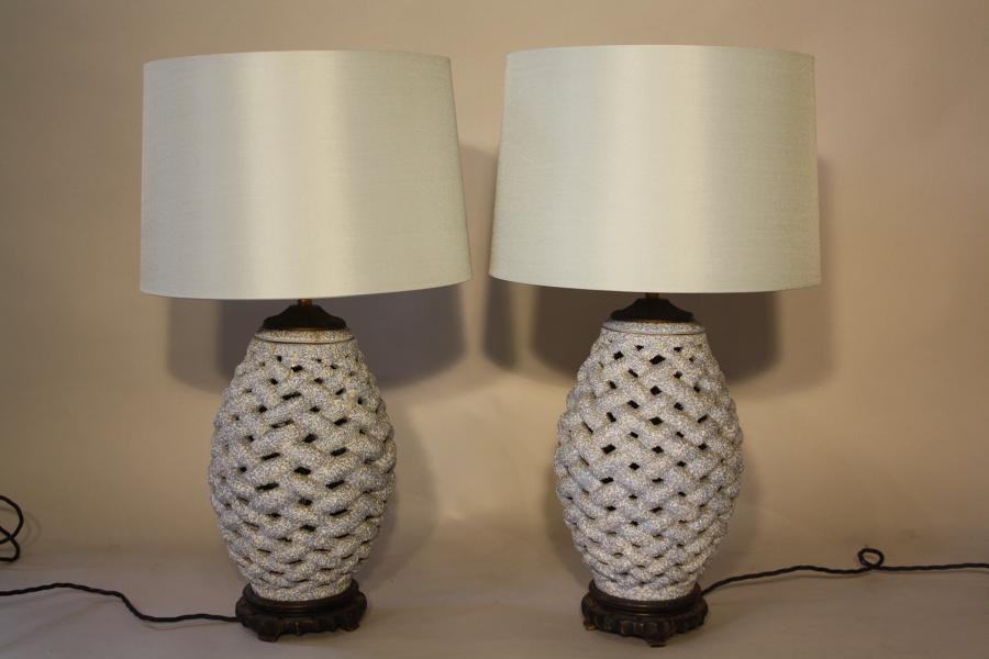 Pair of ceramic criss cross lamps