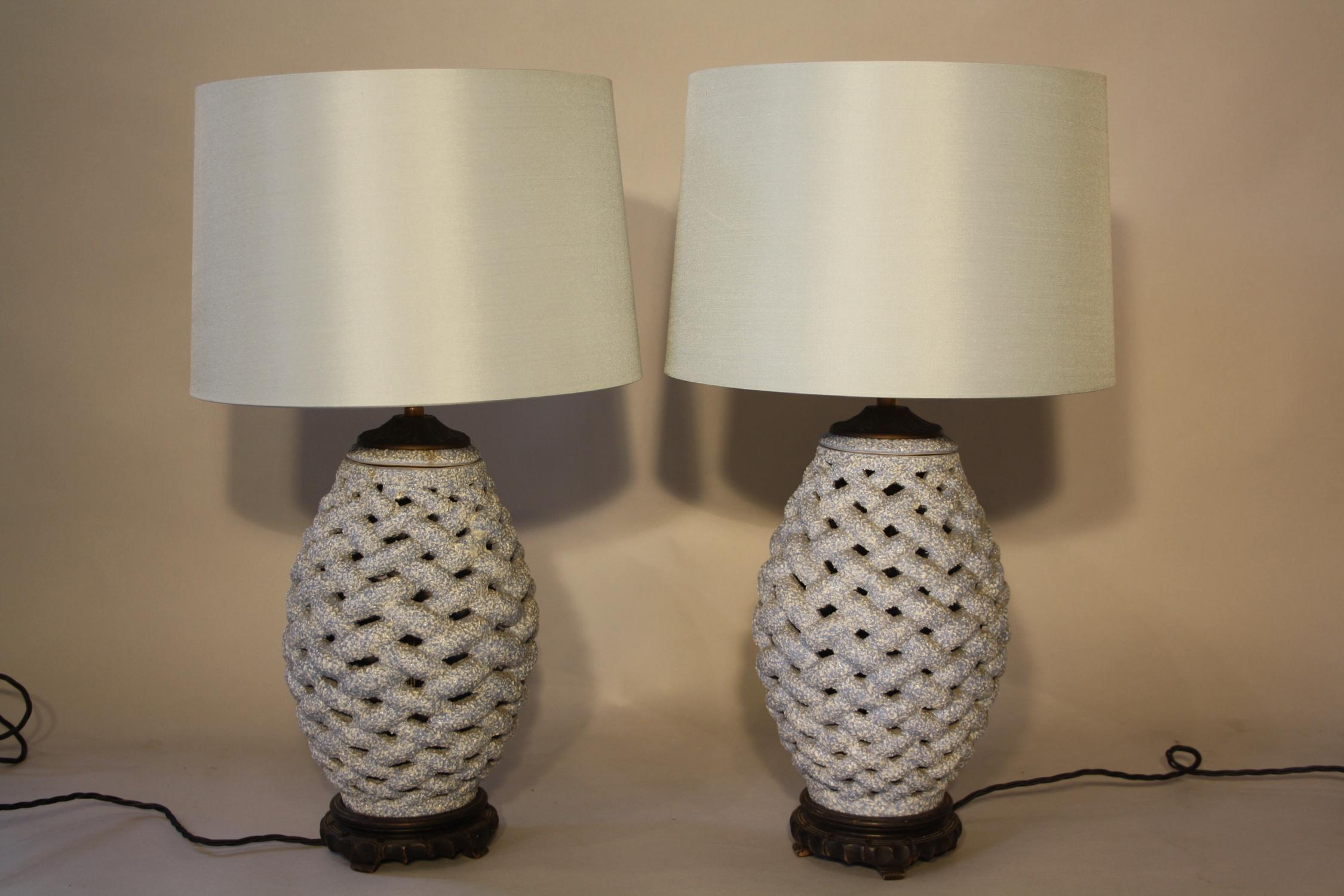 Pair of ceramic criss cross lamps