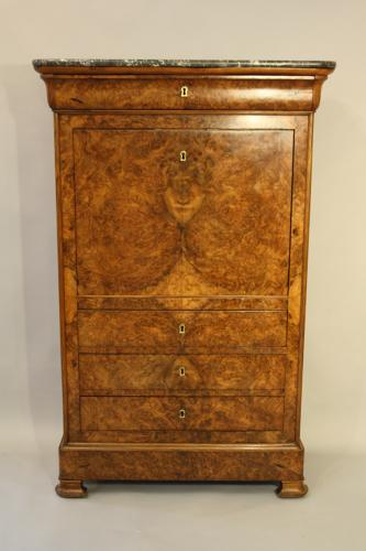 Burr walnut tall boy secretaire bureau