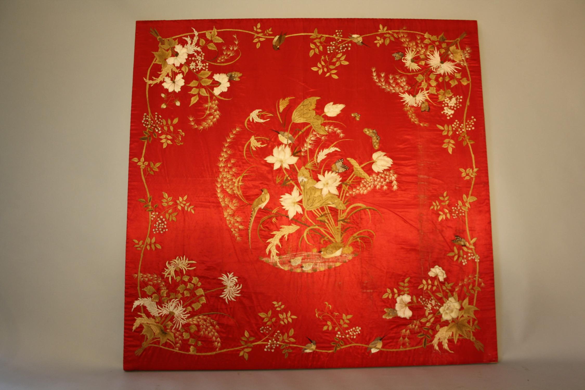 Cherry silk hand embroidered textile