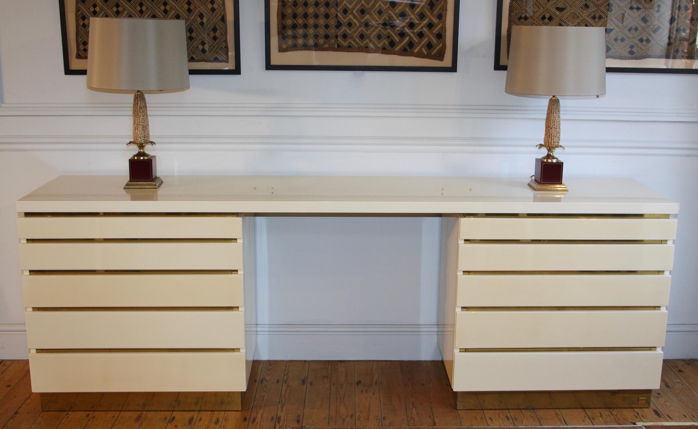 Cream lacquered Jean Claude Mahey console