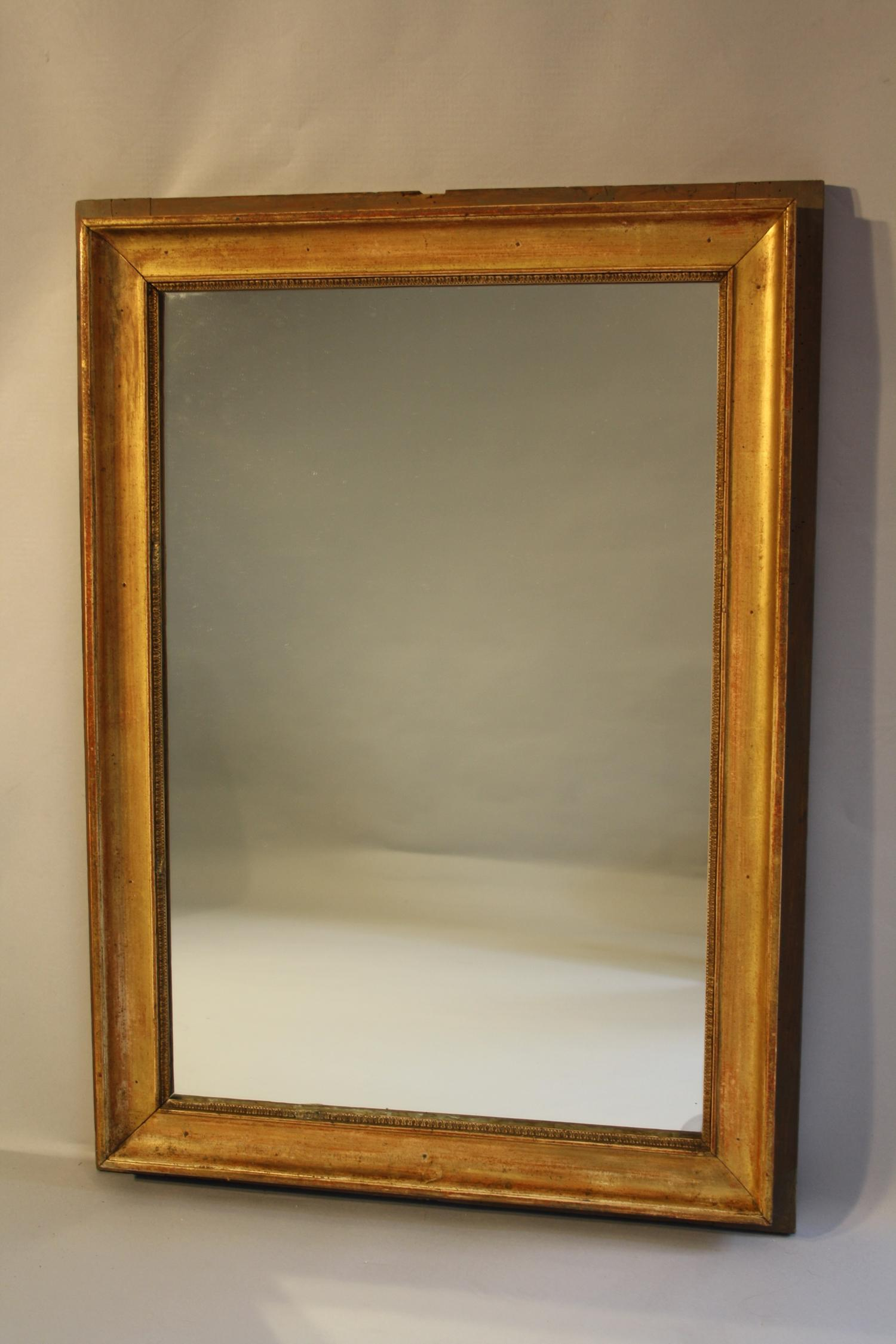 Rectangular gilt panel mirror