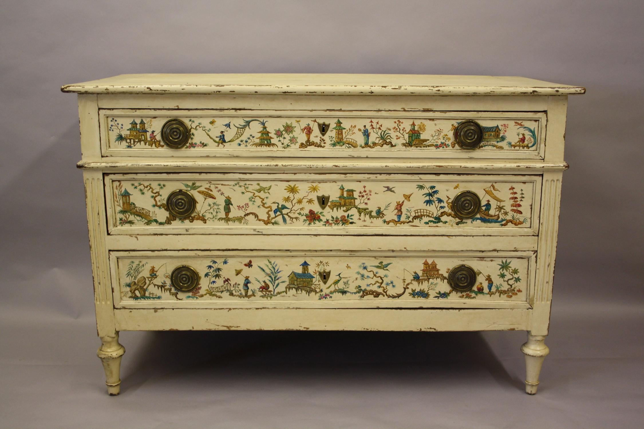 Colourful Chinoiserie chest of drawers