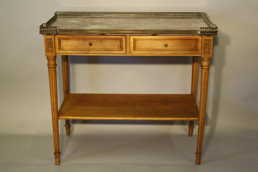 Small marble and fruitwood side table