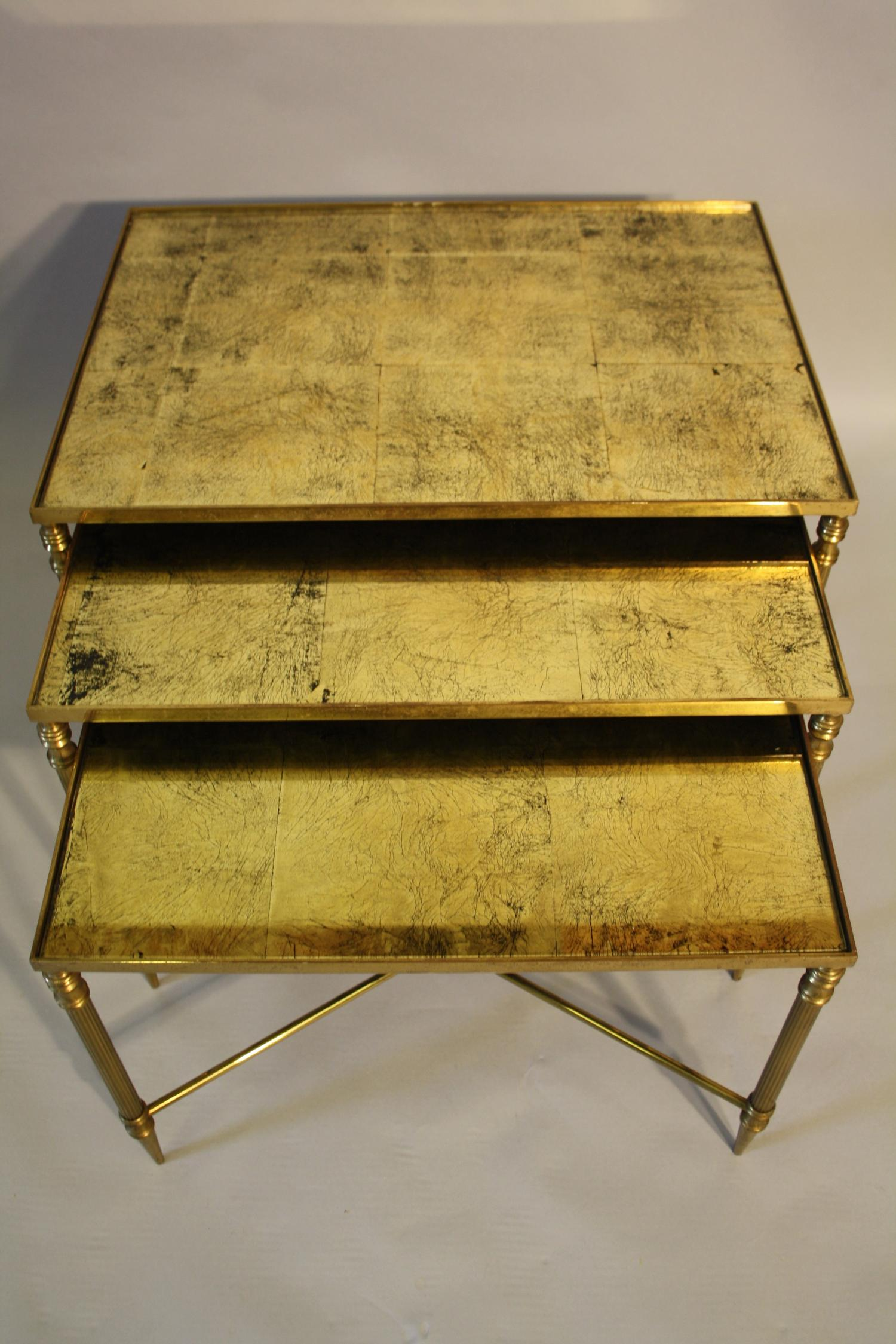 Gold leaf mirrored nest of tables