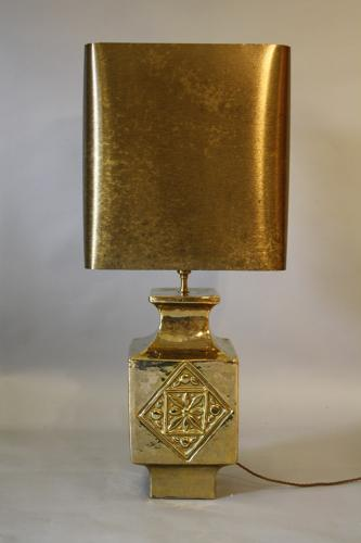 Gold glazed ceramic table lamp