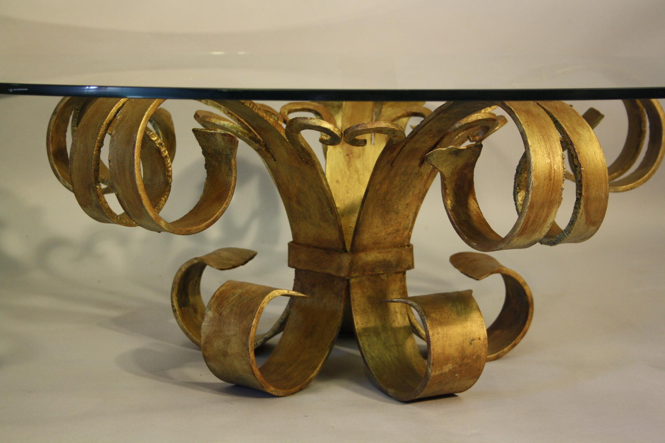 Gilt metal and glass circular coffee table
