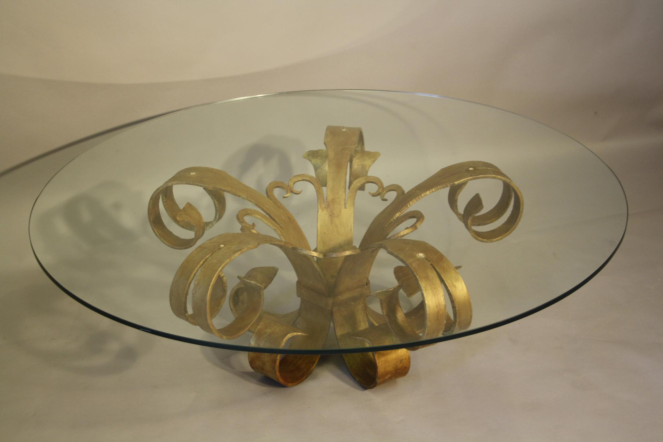 Gilt metal and glass circular coffee table (2)
