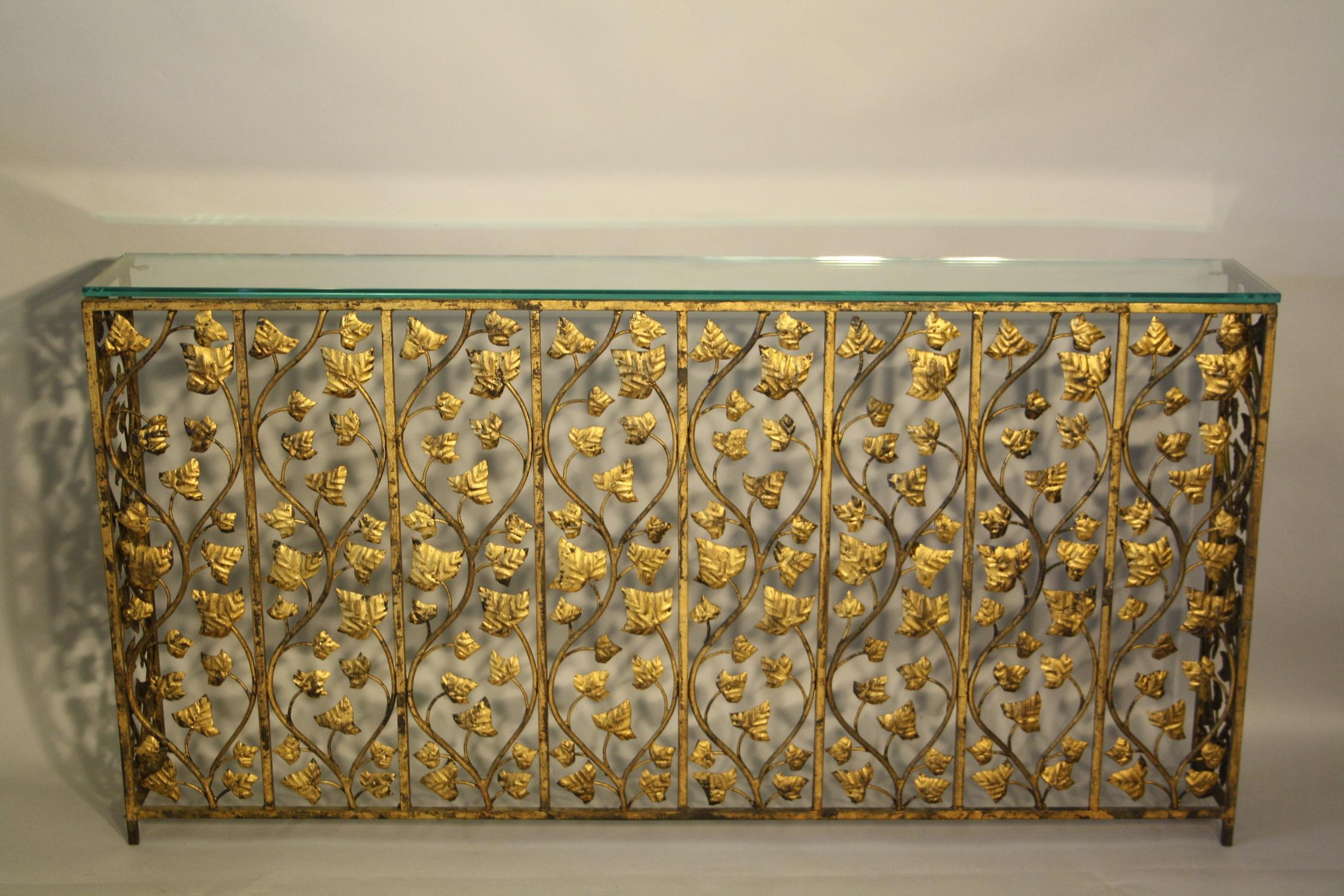 Gold leaf narrow console