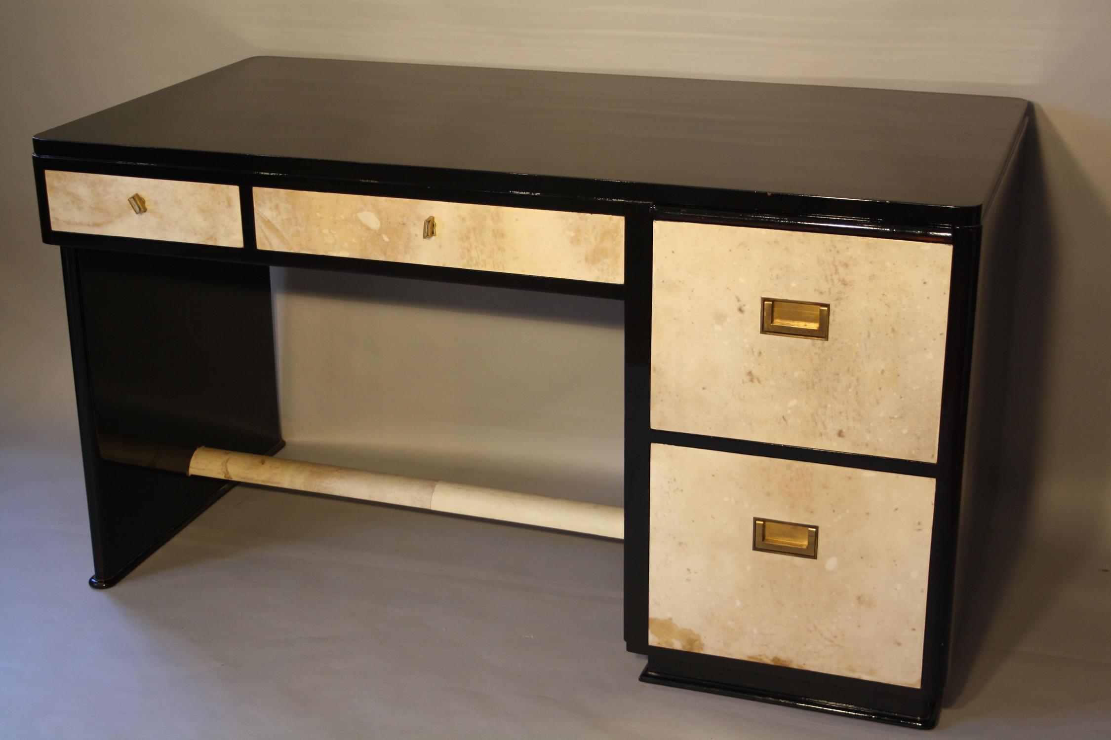 Art Deco black lacquer and parchment desk