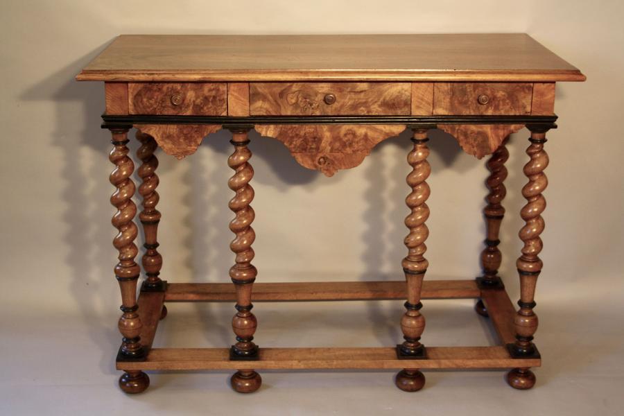 Burr walnut table