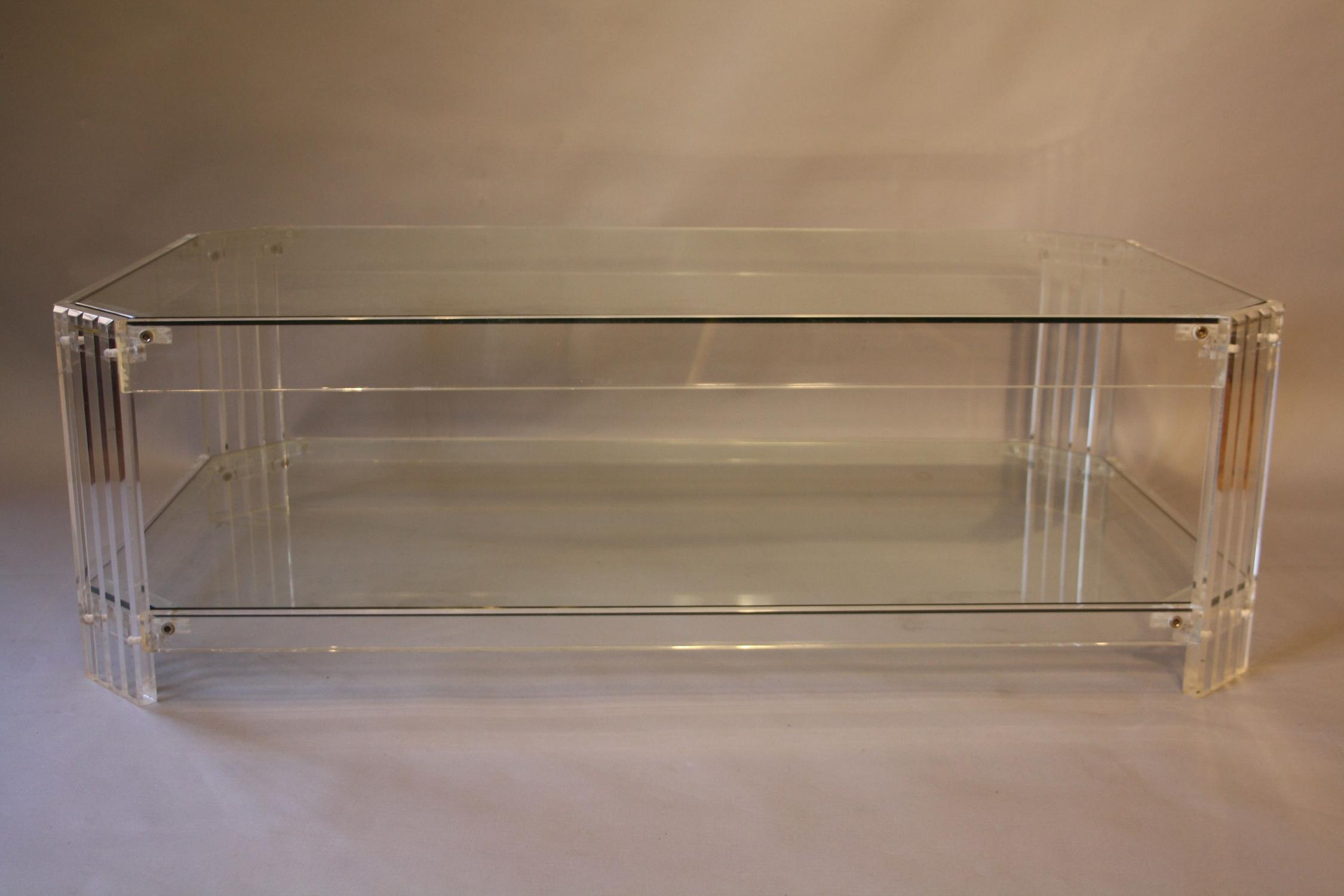 Lucite and glass rectangular coffee table