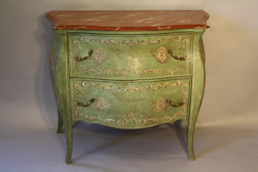 Hand painted pale green and faux red marble bombe commode/chest