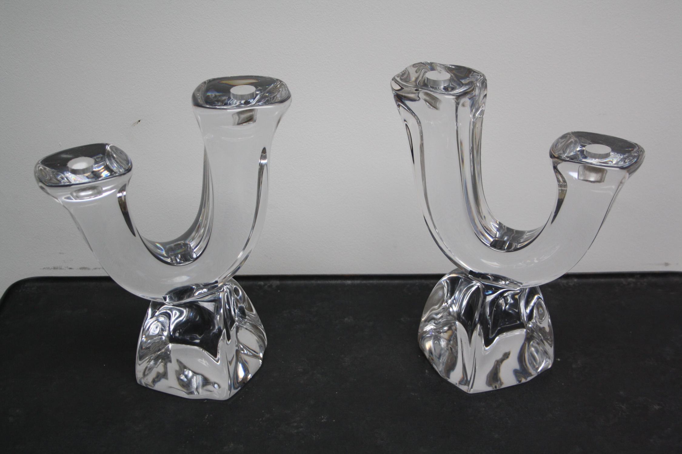 Daum glass candlesticks