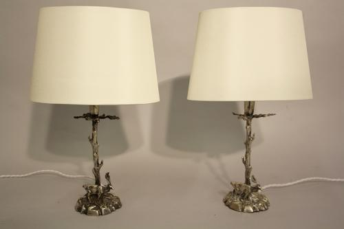 Pair of stag table lamps