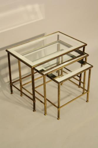 Mirror edged nest of tables