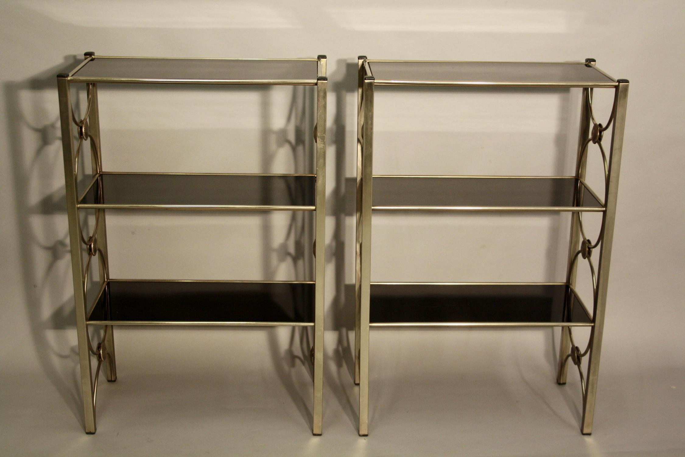 Soft gold, silver and black glass shelves