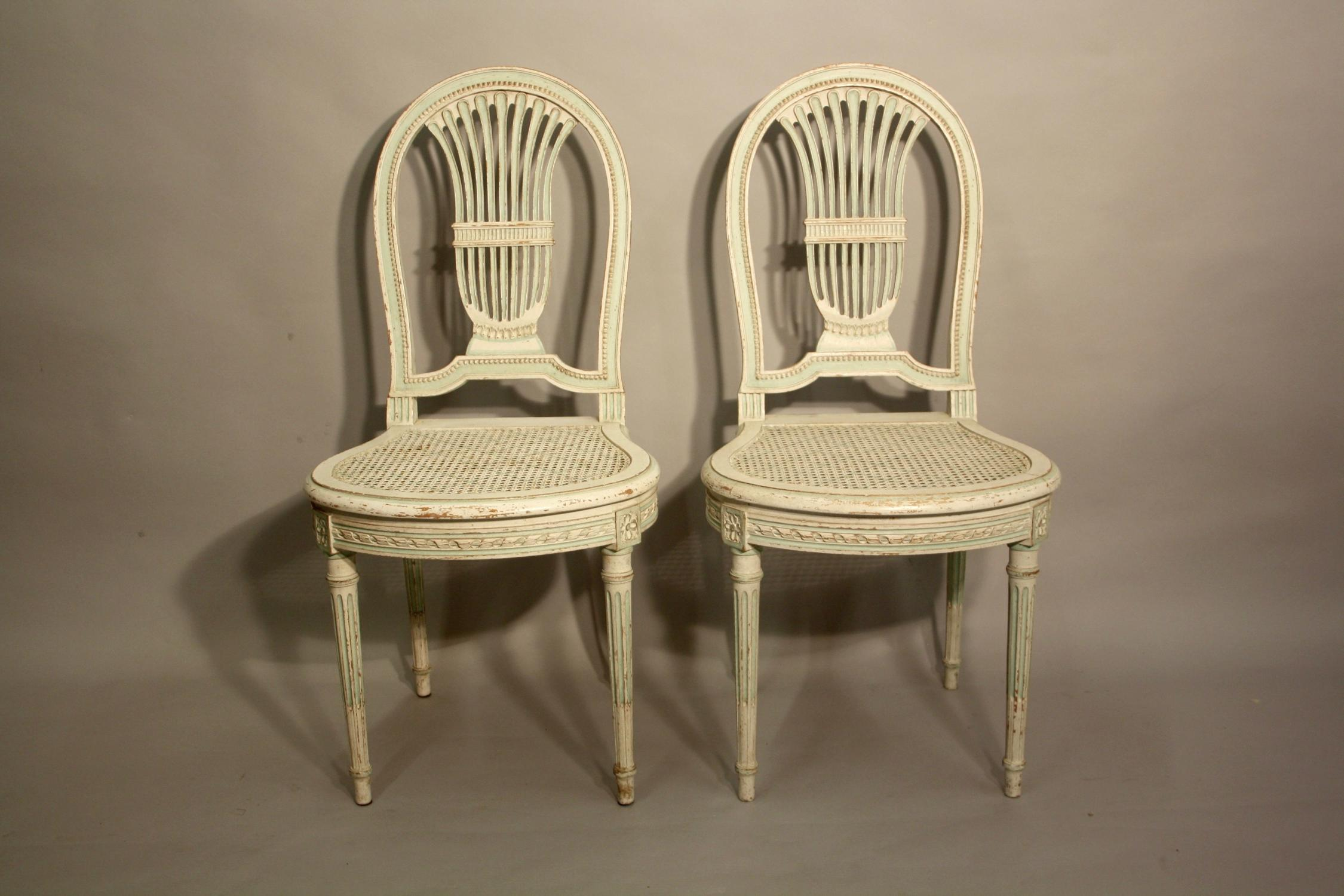 Pair of painted side chairs