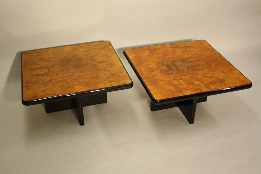 Burr walnut side tables