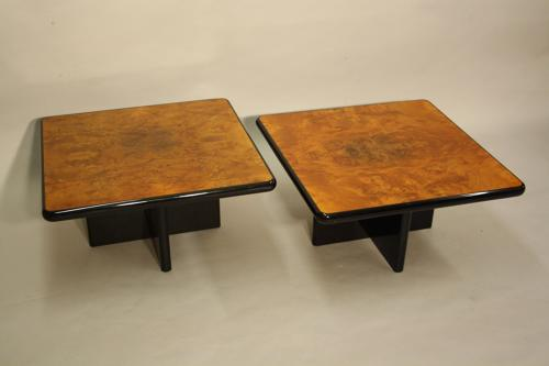 Burr walnut side tables