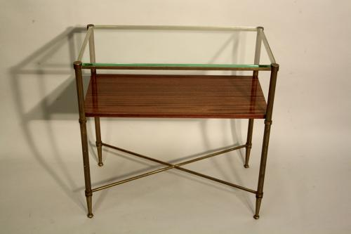 Zebra wood and glass side table