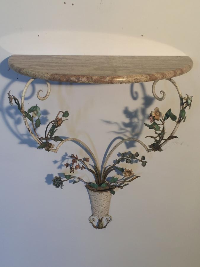 Tole flower and marble console