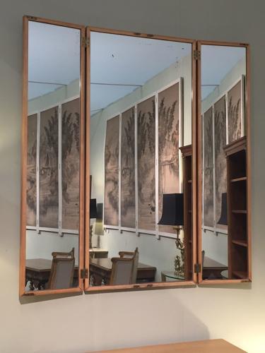 Fruit wood triptych Italian mirror