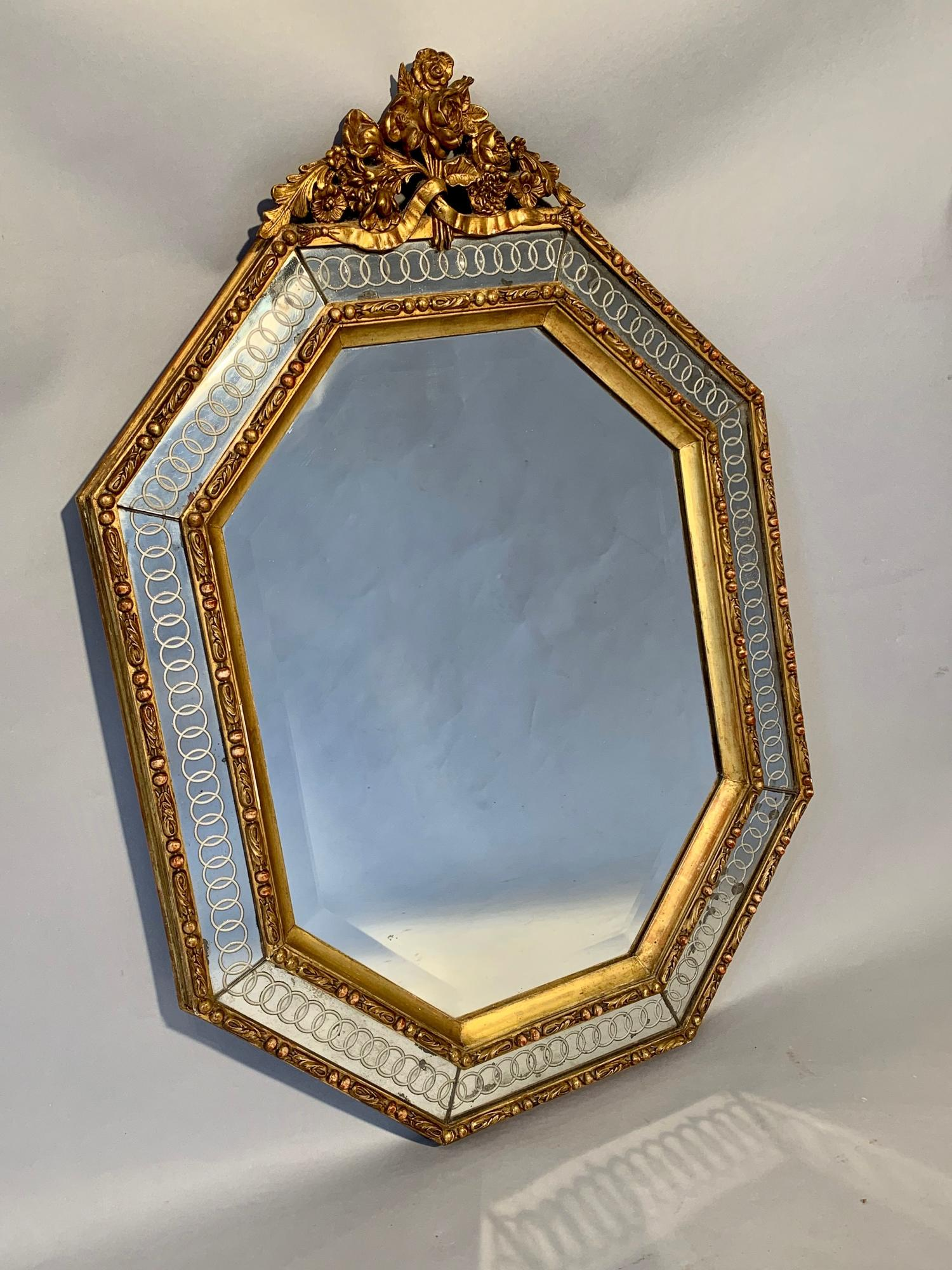 C19th Octagonal mirror