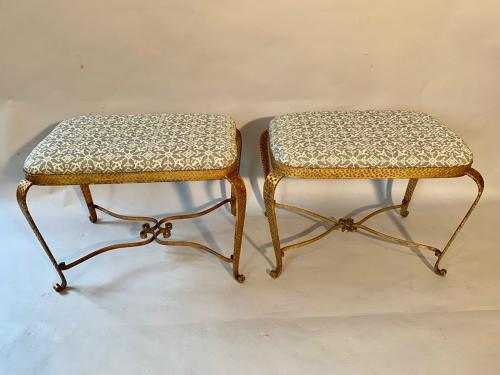 A pair of gilt metal seats by Colli