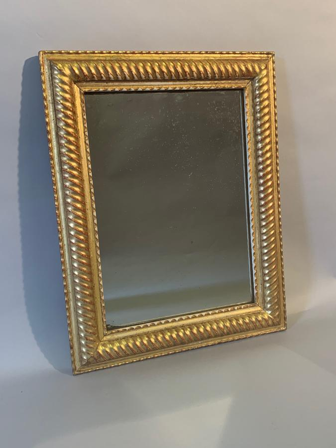 Small French gilt gesso ridge framed mirror.