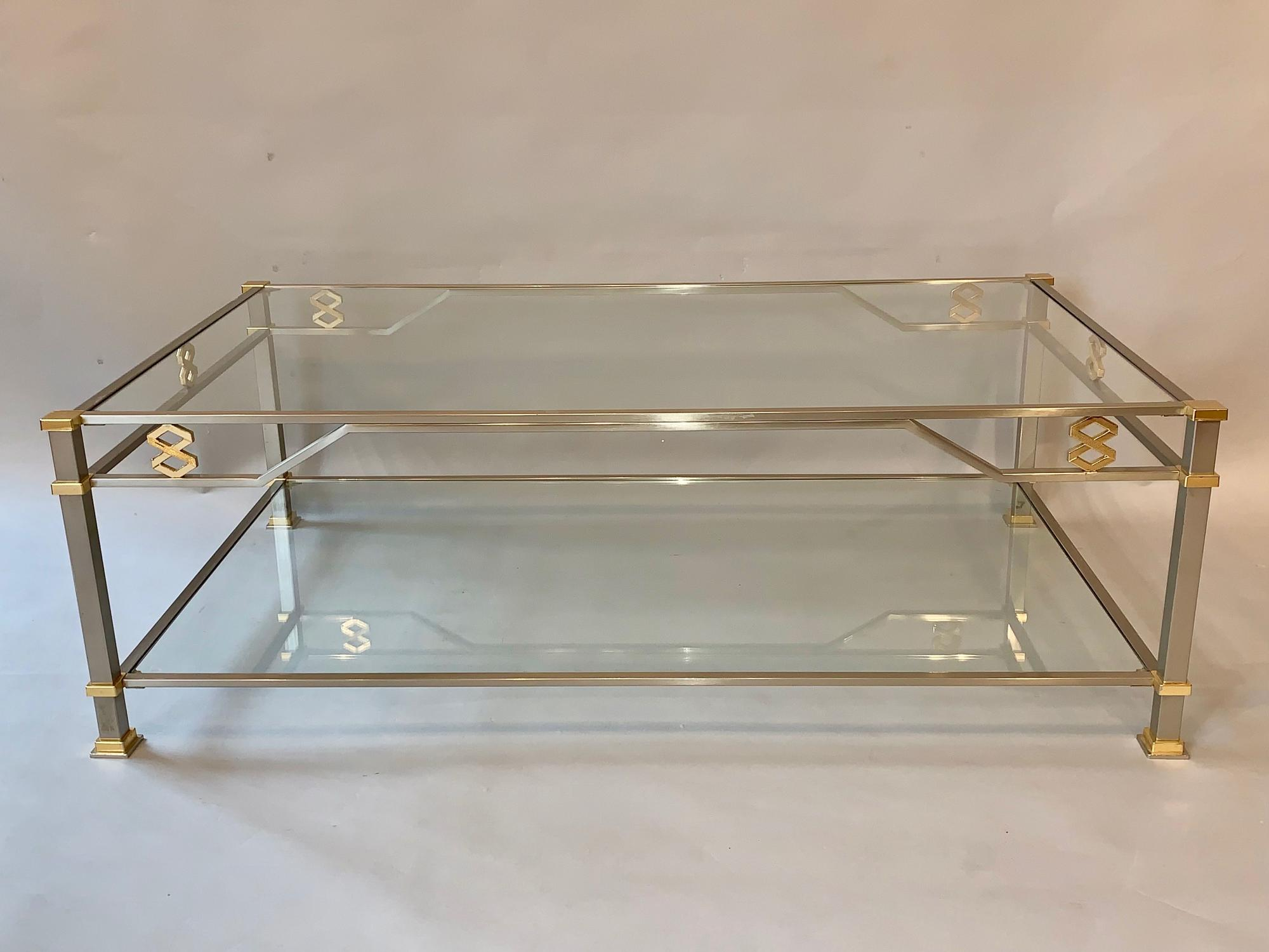 Large two tier metal and glass coffee table