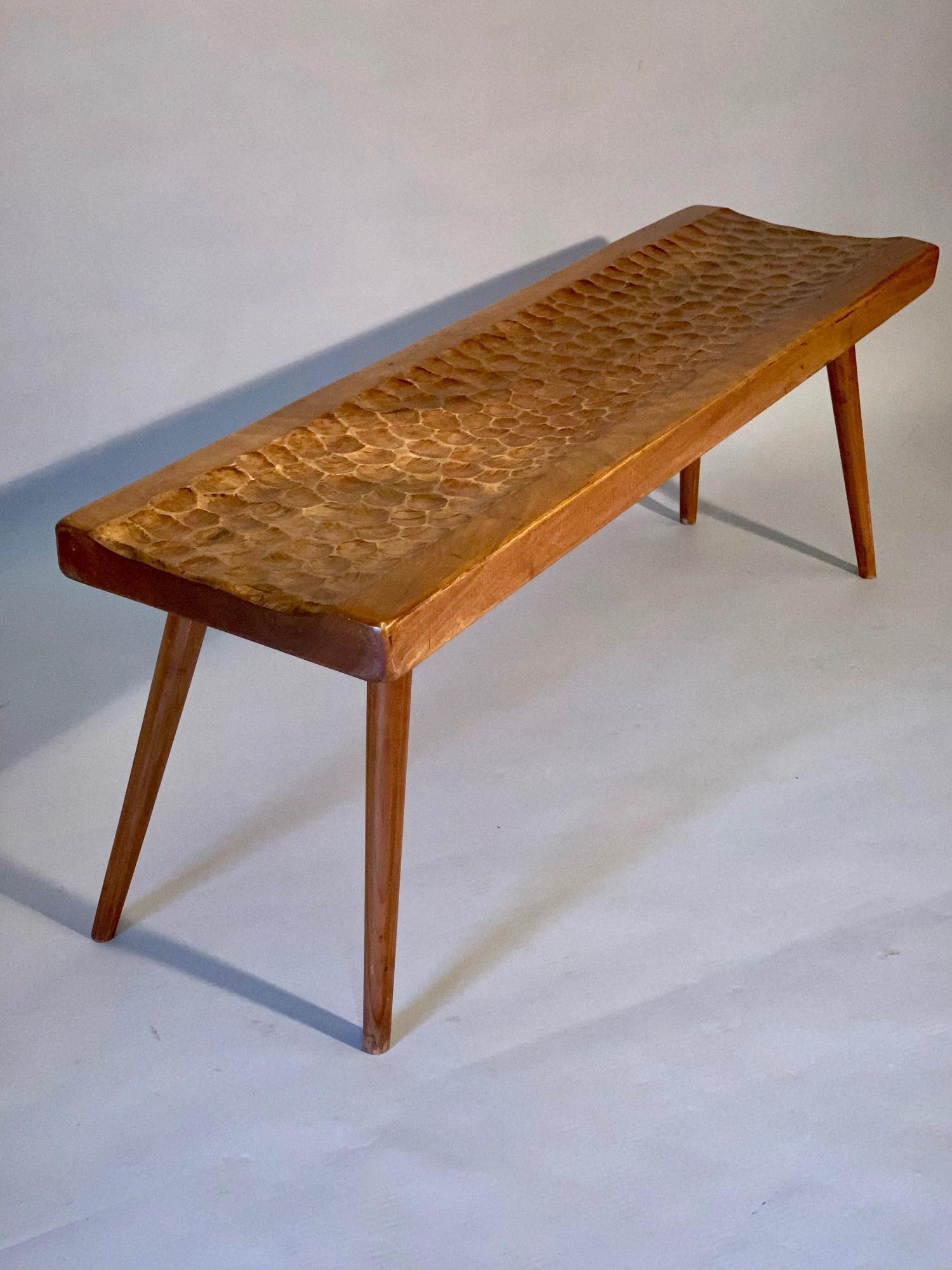 Scalloped walnut bench
