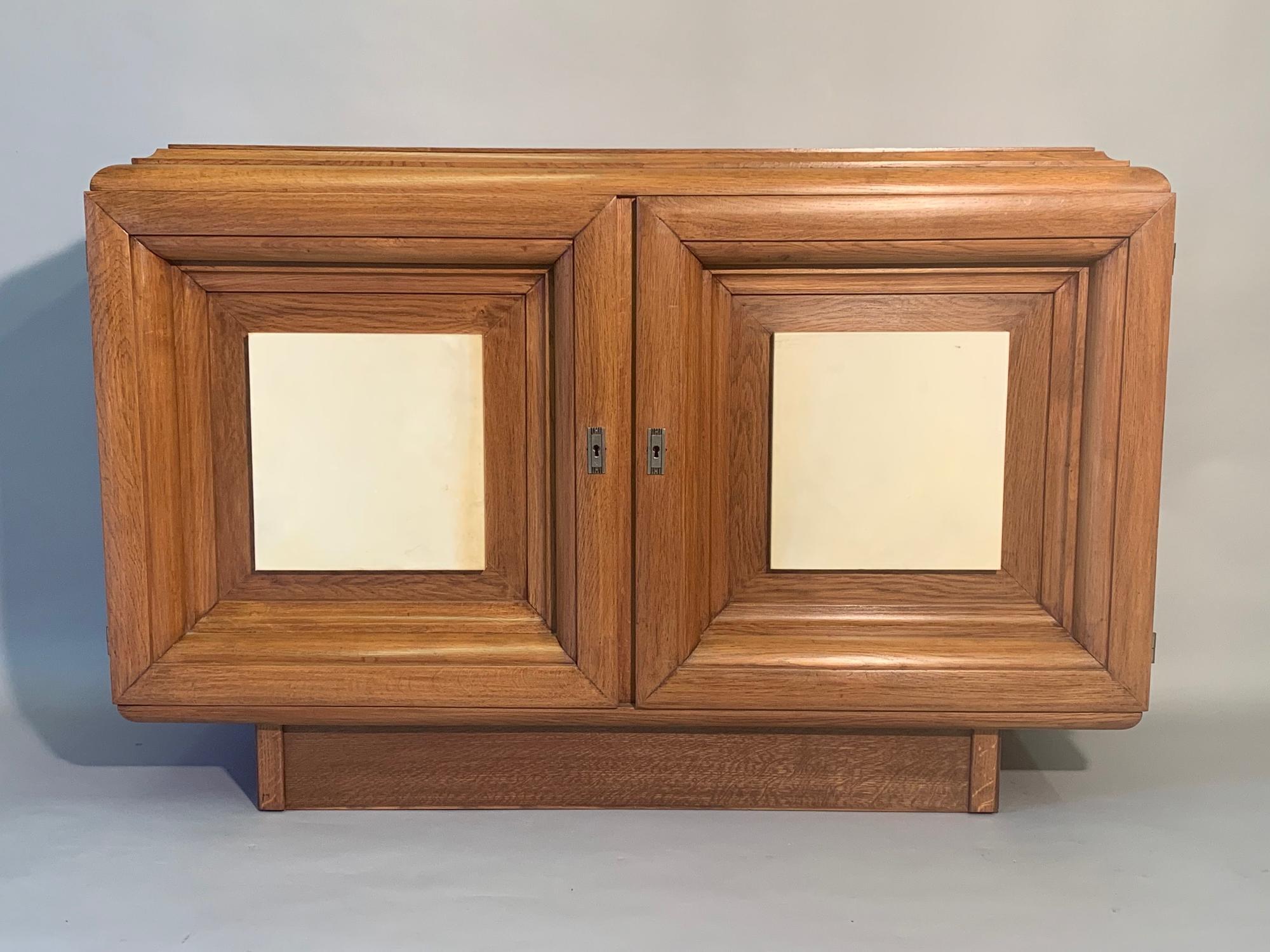 Oak and parchment cabinet