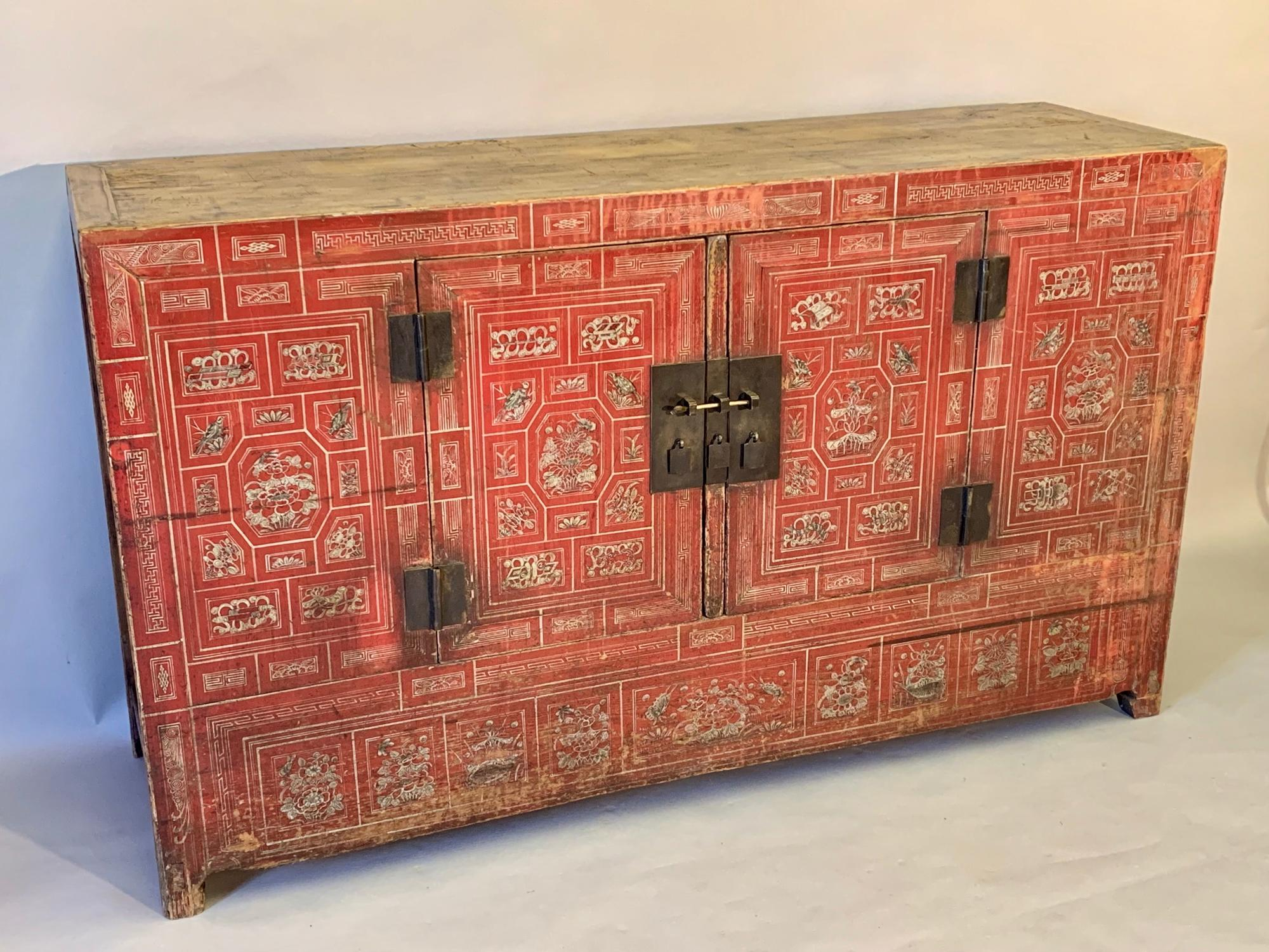 Red Chinese sideboard/linen cupboard