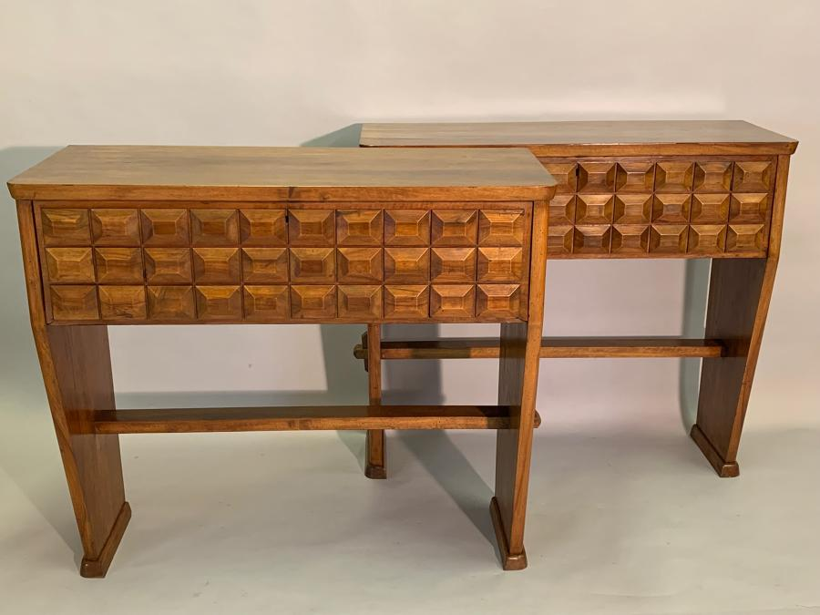 Pair of Brutalist Italian designed walnut consoles