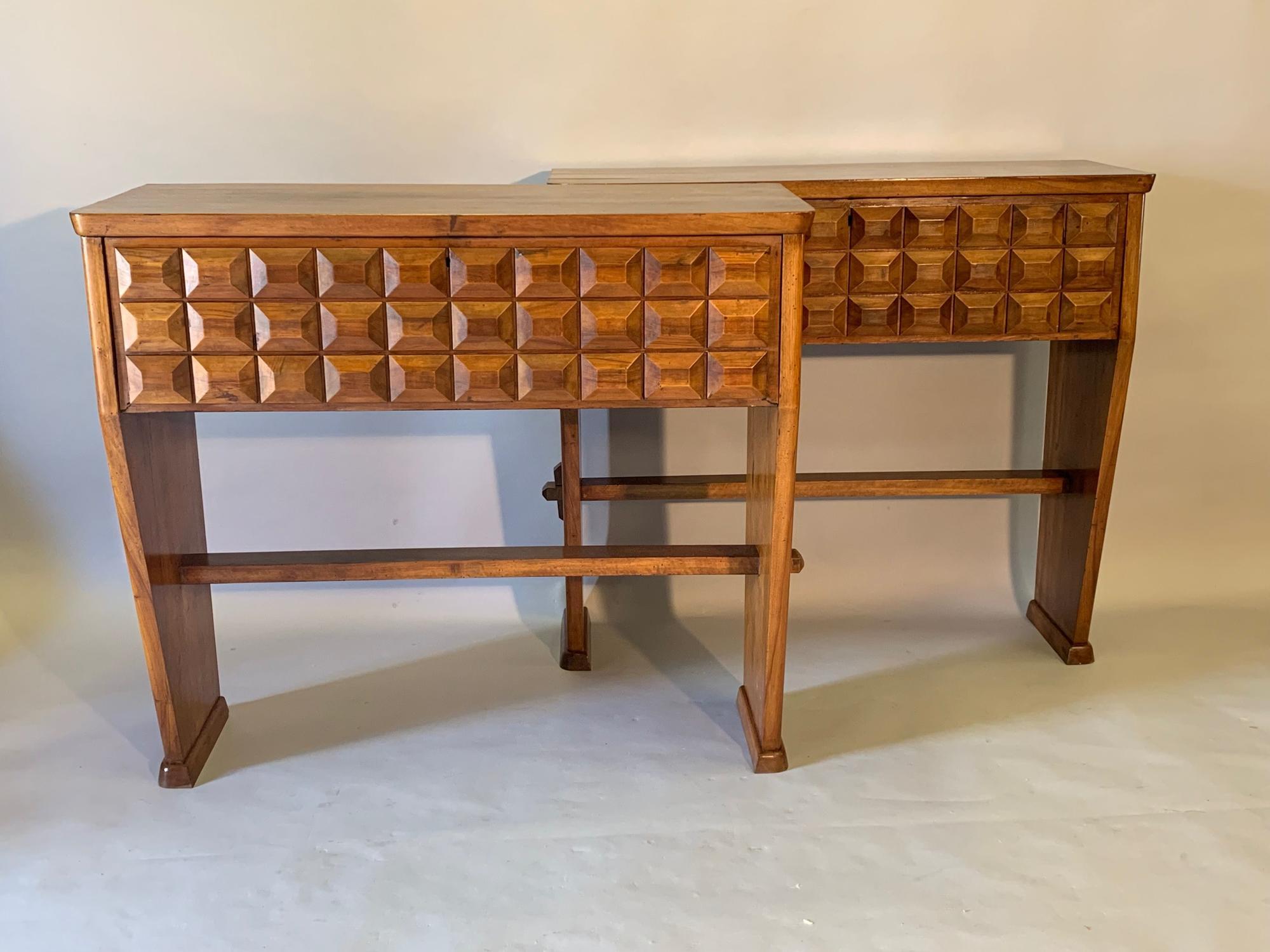 Pair of Brutalist Italian designed walnut consoles