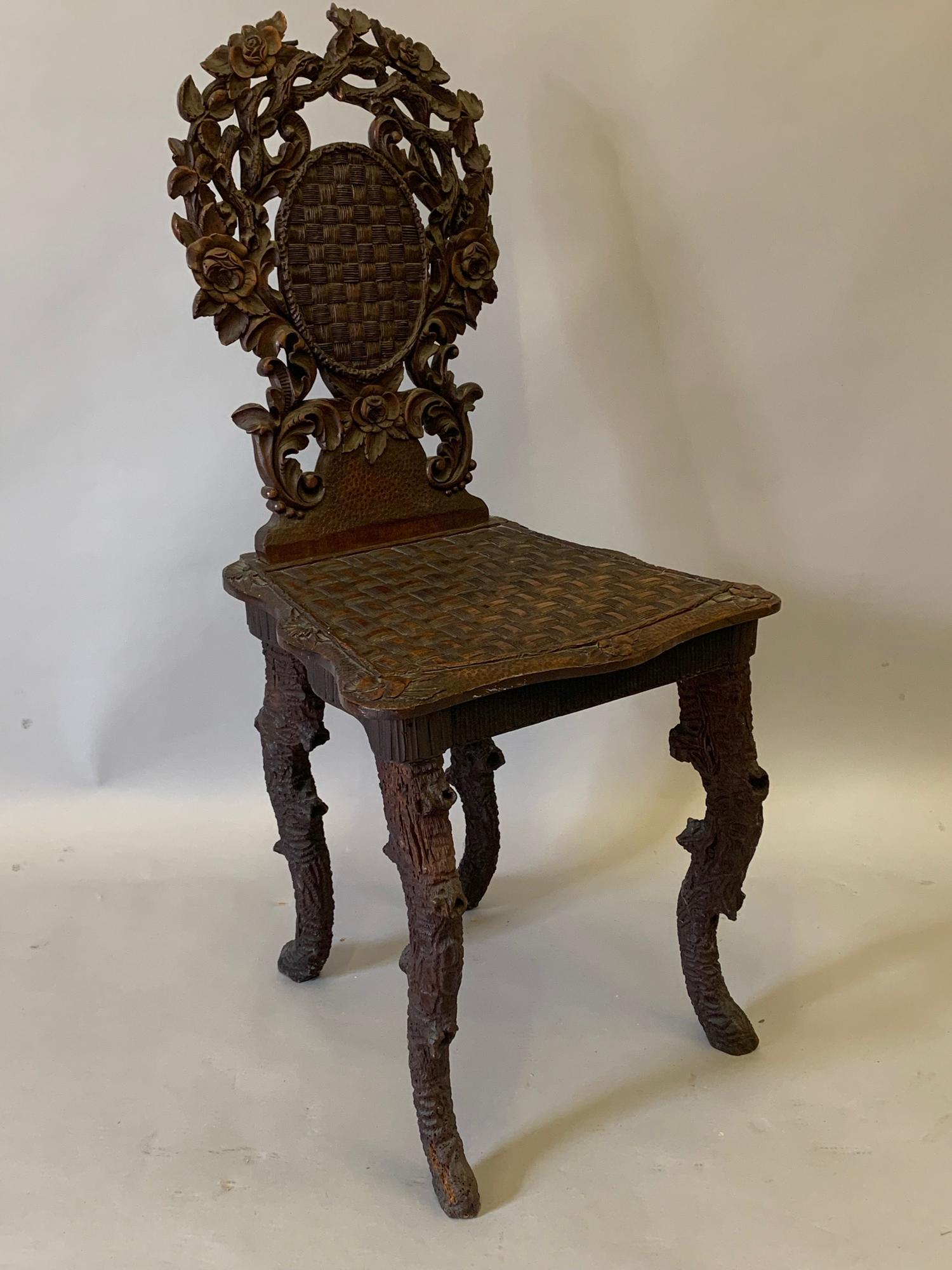 Black Forest carved side/music chair