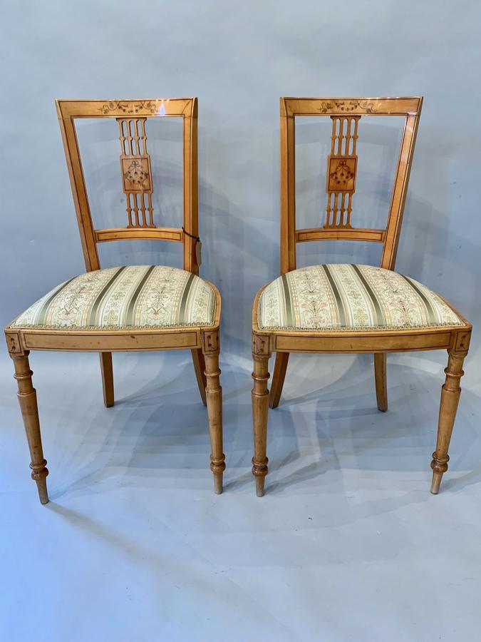 Pair of Italian inlaid marquetry side chairs