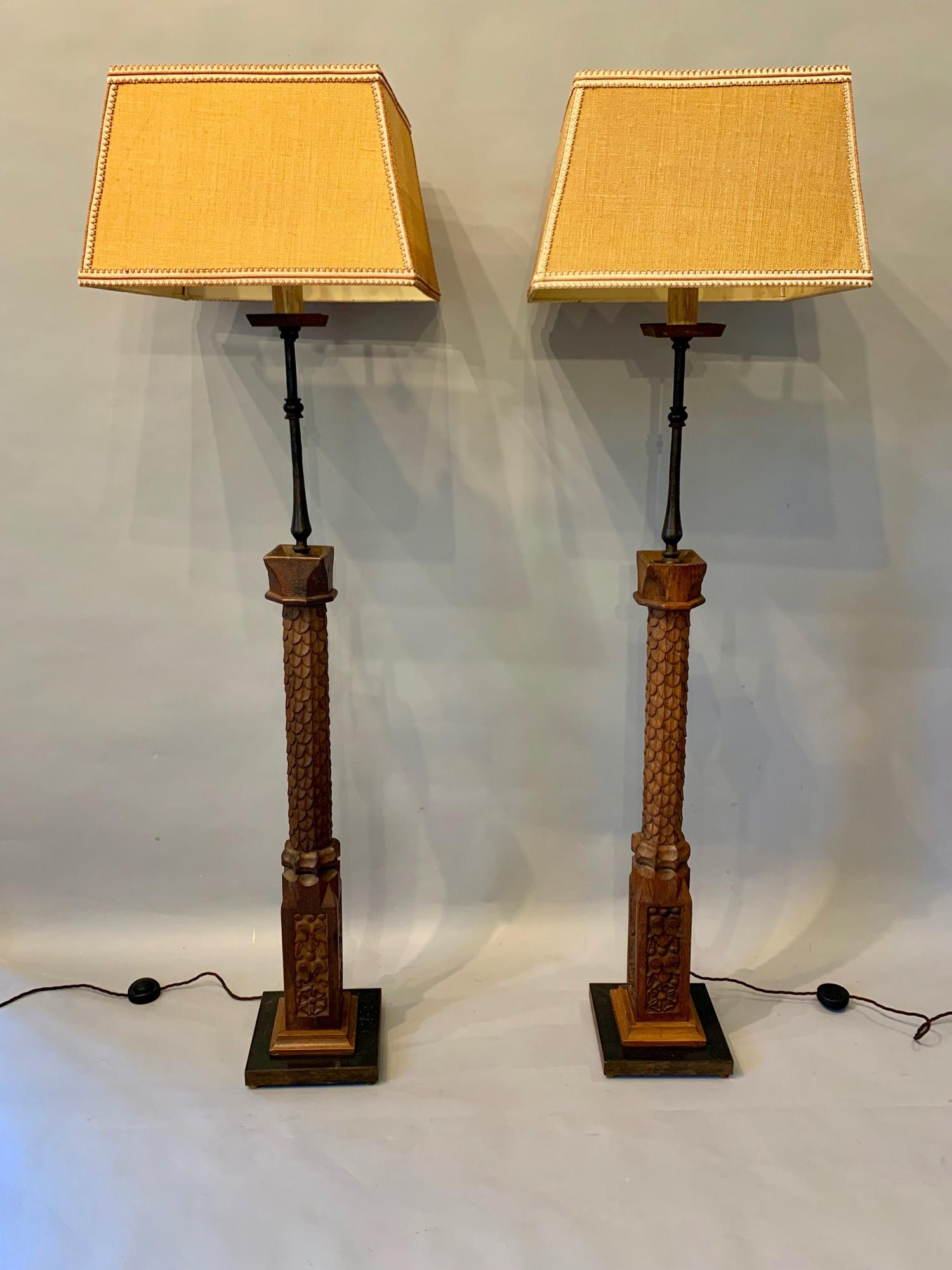 Pair of baluster floor lamps