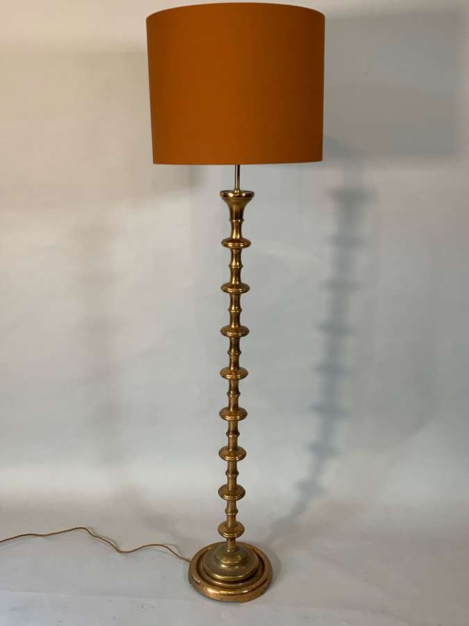 Sculptural vintage copper floor lamp