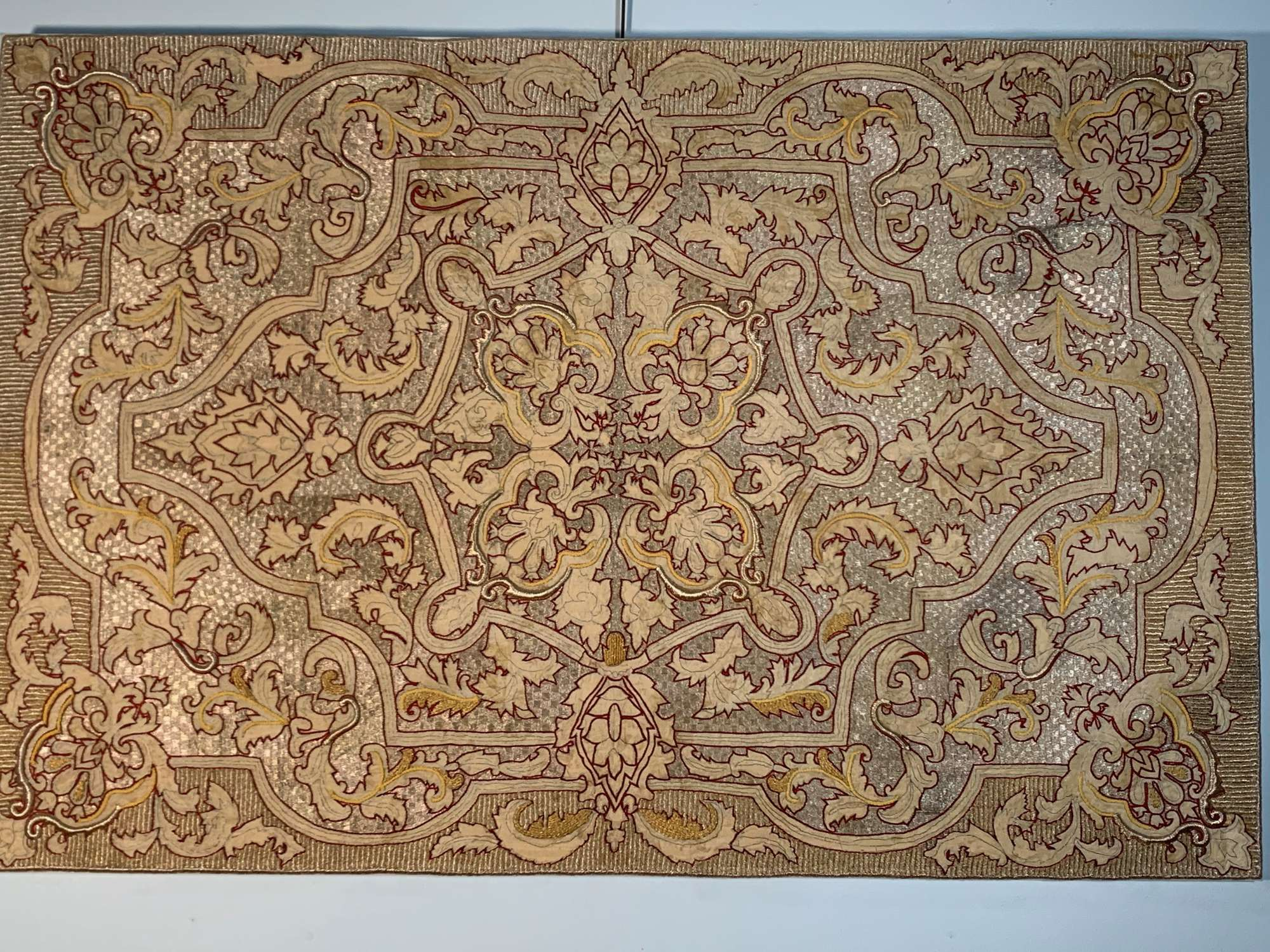 Embroidered silver thread panel