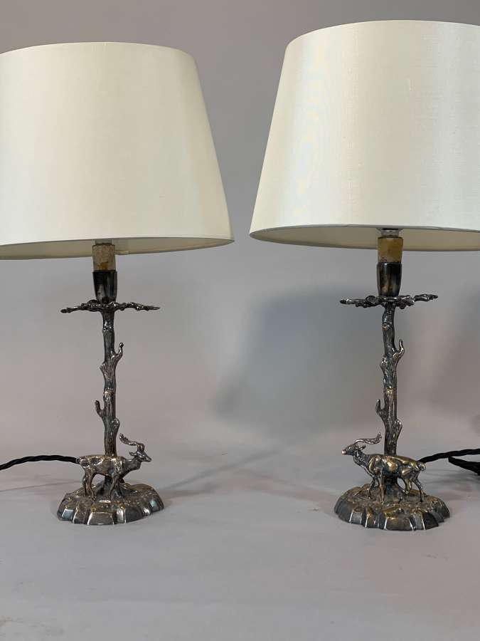 Pair of small silver metal stag lamps