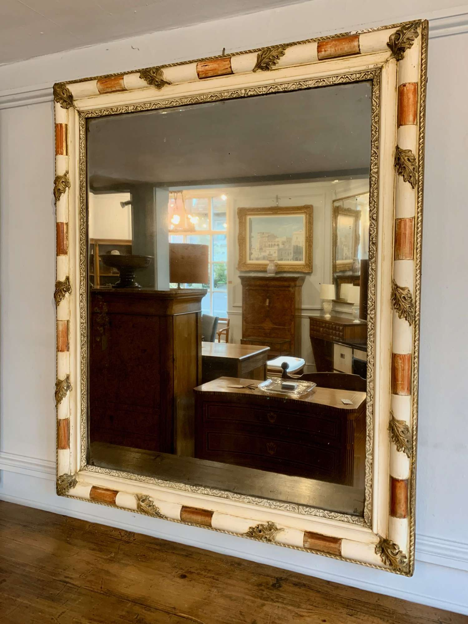 Early gesso and mercury glass mirror