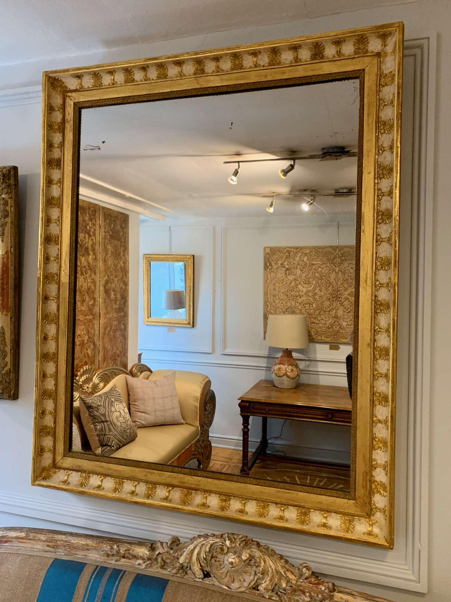 French white and gilt Empire mirror