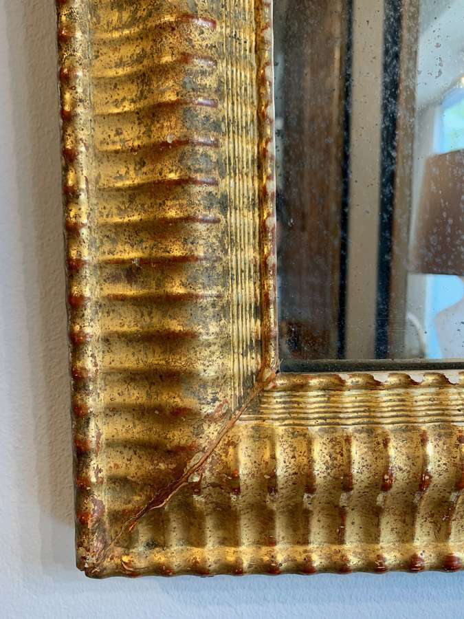 Gilt gesso ripple framed mirror