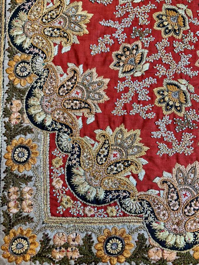 Red beaded Kashmir textile