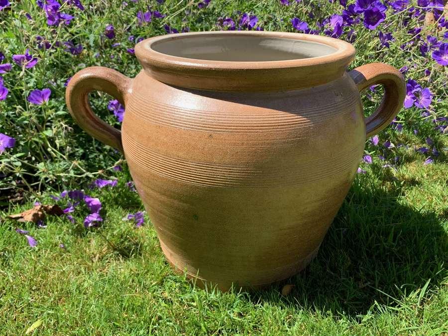 Large glazed stoneware confit/preserve pot