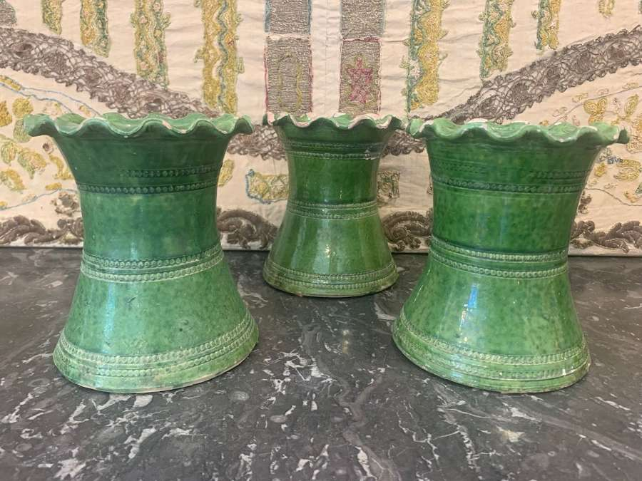 Three green glazed pots